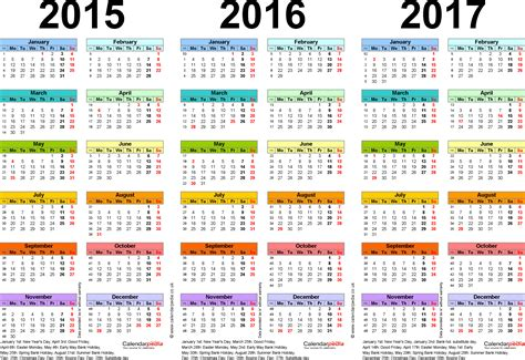 E Calendar 2017 Three Year Calendars For 2015 2016 2017 Uk For Pdf