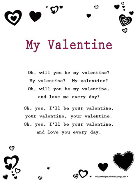 valentines song s day rhymes songs lyrics for quot my