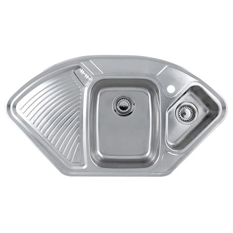 stainless steel corner sink astracast lausanne deluxe 1 5 bowl corner kitchen sink