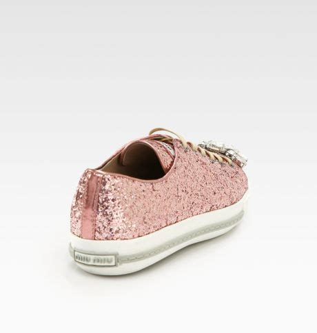 miu miu sparkle sneakers miu miu glitter jeweled laceup sneakers in pink lyst