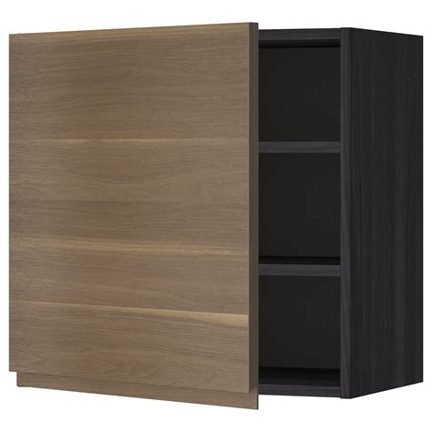 metod wall cabinet with shelves black voxtorp walnut 60x60 cm ikea