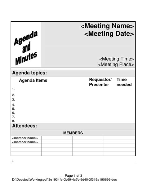 templates for meeting agenda free 5 best images of meeting agenda template pdf printable