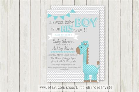 Etsy Baby Shower Invitations by Blue Giraffe Baby Shower Invitation By Littlebirdieinvite