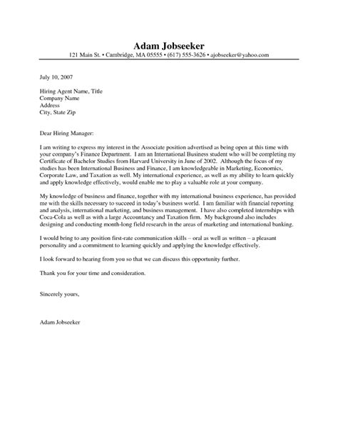 Cover Letter Samples For Internships