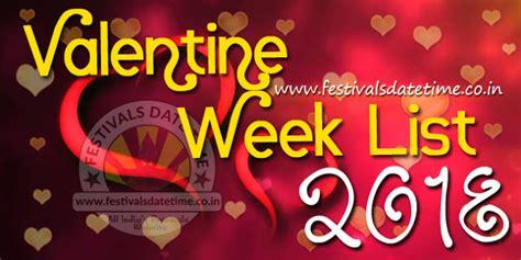 Calendar 2018 Valentines Day 2018 Week List Dates Schedule Of
