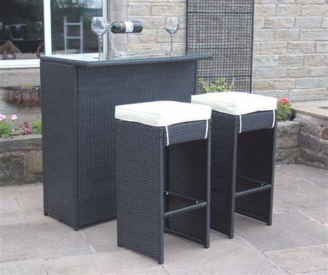 2 seater bar set in black rattan with grey cushions