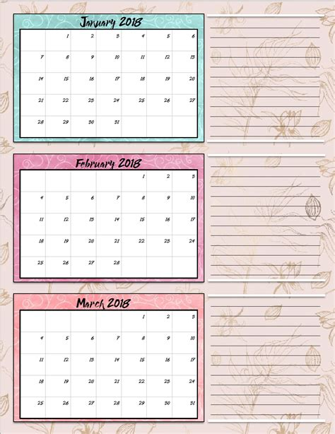 printable quarterly calendar 2018 free printable 2018 quarterly calendars 2 designs