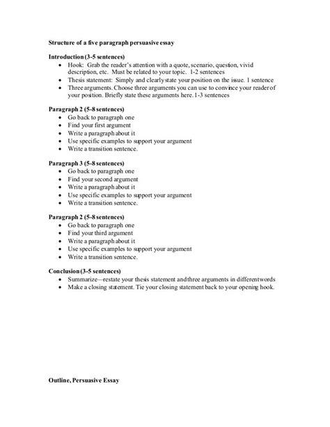 sle five paragraph persuasive essay persuasive outline by mrs cheney via slideshare free