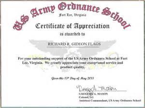 Certificate Letter Of Appreciation Army Certificate Of Appreciationreference Letters Words