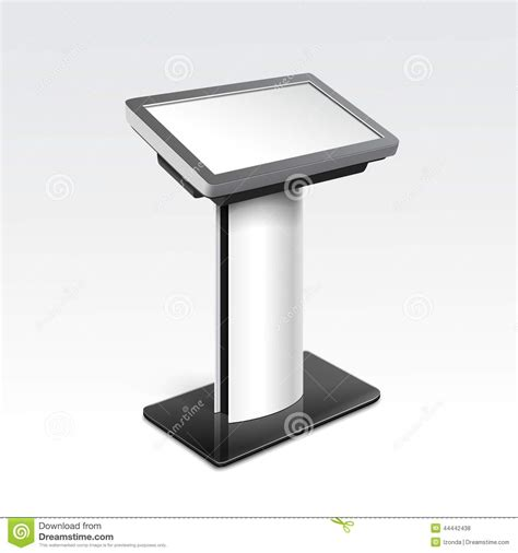 console inf information display monitor terminal stand stock vector