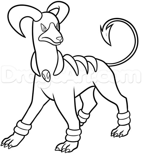 pokemon coloring pages houndoom how to draw houndoom step by step pokemon characters