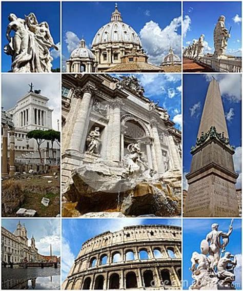 Collage Of Landmarks Of Rome, Italy Stock Photo   Image: 42688747