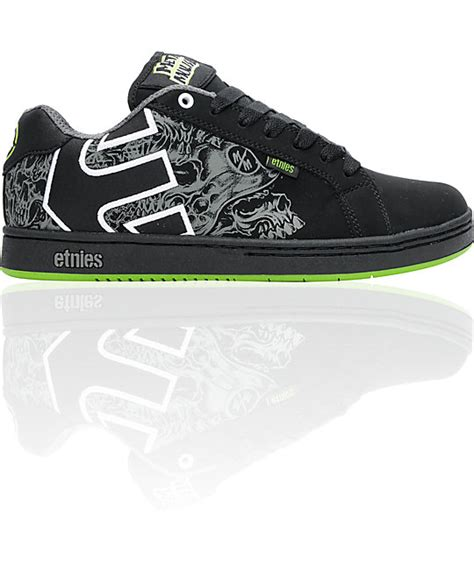 etnies x metal mulisha fader black green skate shoes at