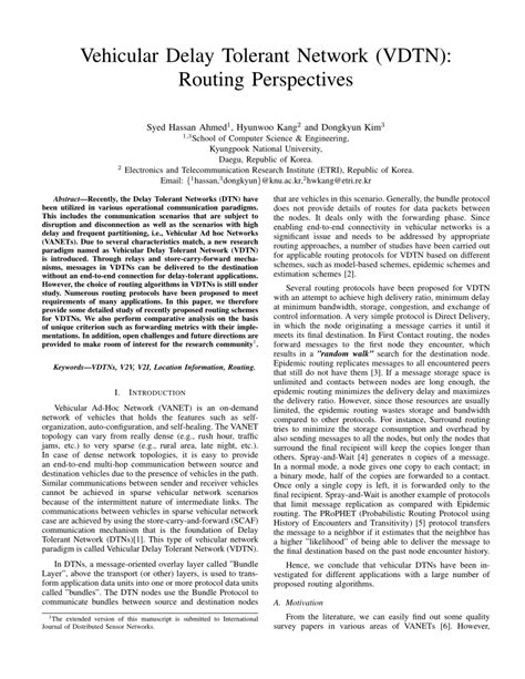 Delay Tolerant Network Research Paper by Vehicular Delay Tolerant Network Vdtn Routing Perspectives Pdf Available