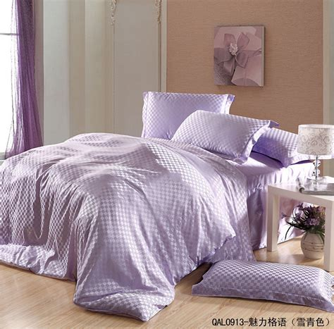 Mauve Bedding Set Light Purple Plaid Mauve Lilac Mulberry Silk Comforter Bedding Set King Size Comforters