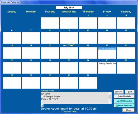 Reminder In Calendar Free Appointment Reminder Calendar Software Donloading