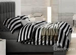 minimalist black and white stripe soft cotton bedding sets