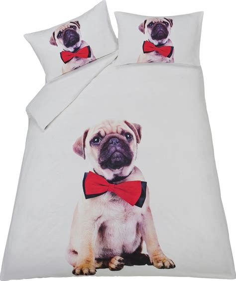 pug bed sheets pug panel multicoloured bedding set double ebay