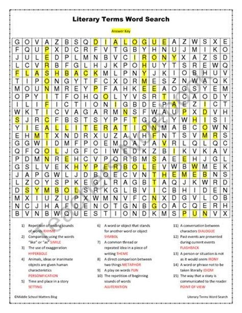 printable word search literary terms word search for middle school language arts puzzles for