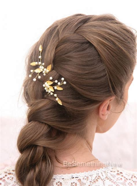 Wedding Hair Accessories Gold by Gold Leaf Bridal Hair Pins Wedding Hair Accessories