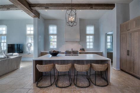 exposed ceiling beams in kitchen rattan bar stools home white center island with blue chevron square back counter