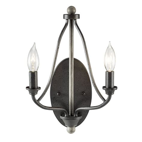 Kichler Light Shop Kichler Carlotta 9 25 In W 2 Light Anvil Iron And Driftwood Vintage Candle Wall Sconce At