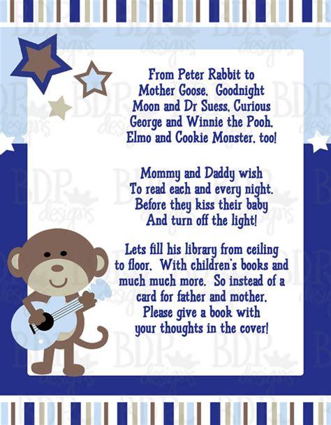 rockstar monkey baby shower rock monkey poem card for baby shower instant digital