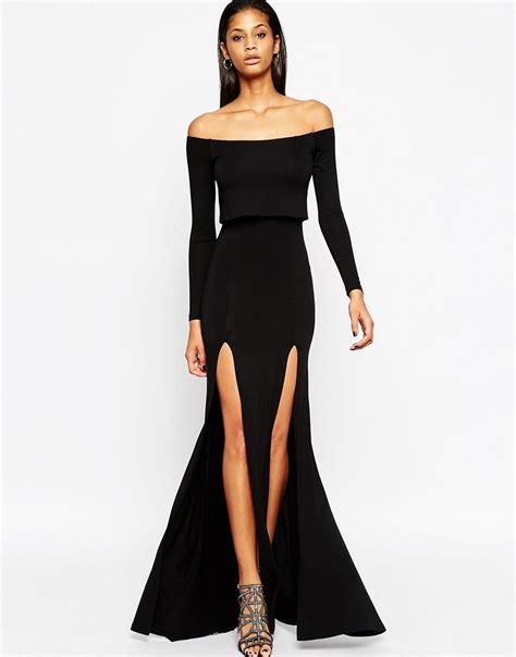 Dress Longcrop 95rb asos asos sleeve crop top bardot maxi dress with split at asos