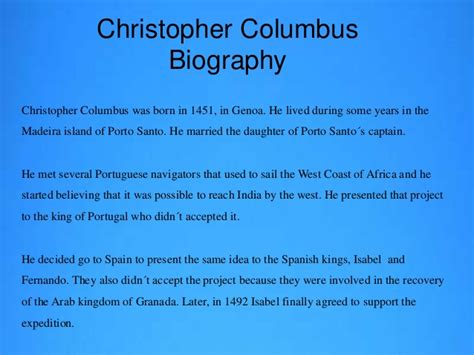 christopher columbus biography ppt christopher columbus projecto comenius ingl 234 s
