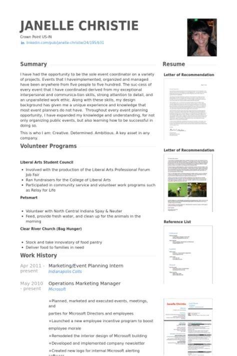 Event Planner Intern Resume Sle Event Planung Cv Beispiel Visualcv Lebenslauf Muster Datenbank