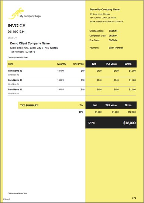 Invoice Template Mac by Billsonar Invoice Apple Mac Os X