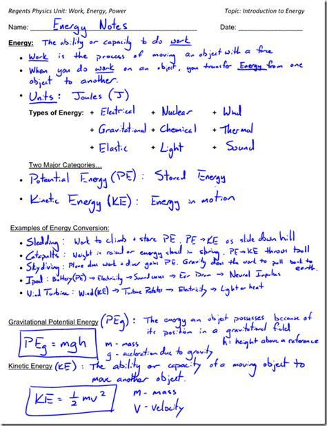energy conversion worksheet introduction to energy energy types and exles of energy conversion regents physics