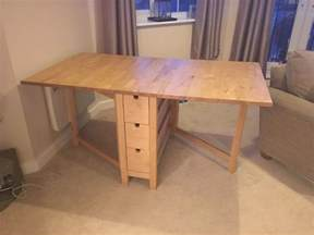 Ikea norden table drop leaf extendable solid wood with drawers folding