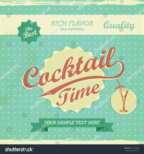 vintage cocktail vector vintage design cocktail background vector stock