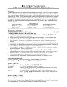 Sle Of Business Resume 100 sle business management resume cpol resume