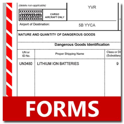 tdg shipping document template shipping lithium batteries