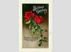 BIRTHDAY GREETINGS red roses - TuckDB Postcards P Design Logo