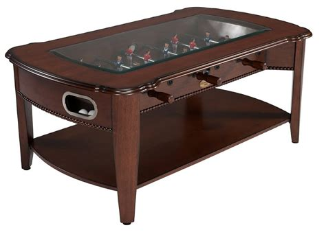 2 in 1 foosball coffee table in antique walnut
