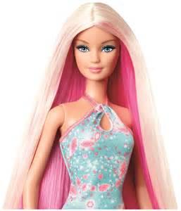 Barbie hairtastic blue dress long blonde hair doll free shipping