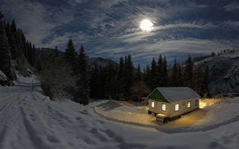 moon house house scenery free wallpaper world