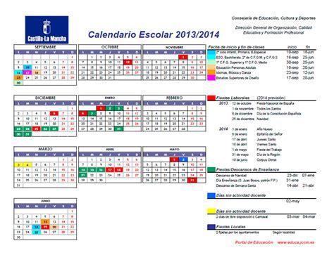 Calendario Escolar Castilla Y 2013 14 Calendario Escolar Castilla La Mancha 2013 14 Vacaciones