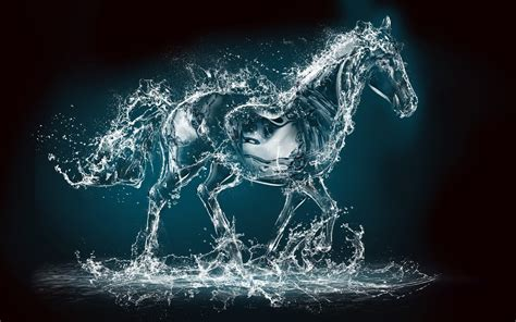 wallpaper of craft horse water creative art water art 4k uhd wallpaper hd