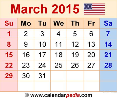 printable monthly planner march 2015 march 2015 calendars for word excel pdf