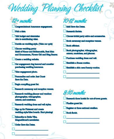 Wedding Day Checklist Uk by Wedding Planning Checklist Sle In Pdf 8 Exles In Pdf