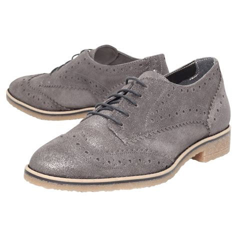 carvela flat shoes carvela kurt geiger loot flat leather brogue shoe in gray