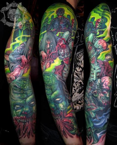 monster tattoos sleeve by tim kerr