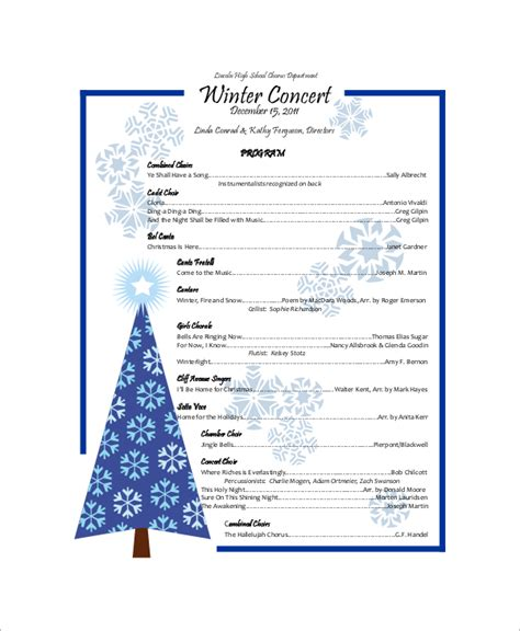 Winter Program Template 9 Sle Concert Programs Pdf Psd Word Illustrator Sle Templates
