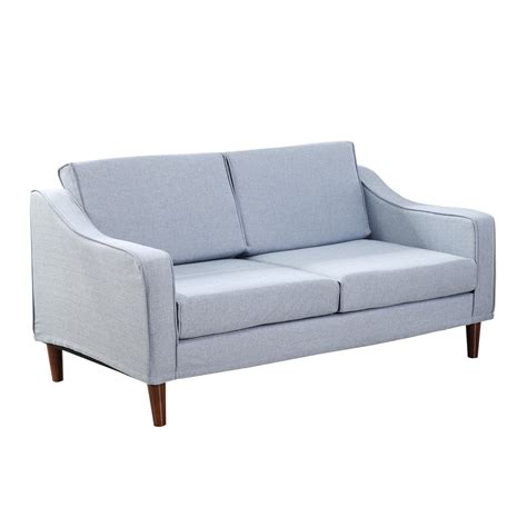 homcom two seat sofa light blue sofas furniture