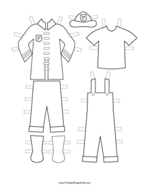 firefighter jacket coloring page fireman paper doll uniforms to color