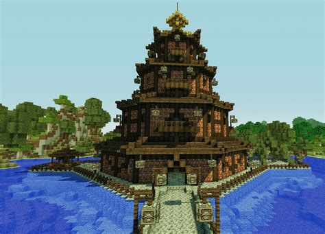Octogon House chinese octagon pagoda minecraft project